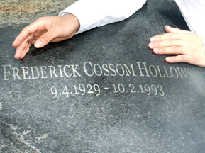The new sculpture on Fred Hollows' grave. Photo: Andreas Buisman