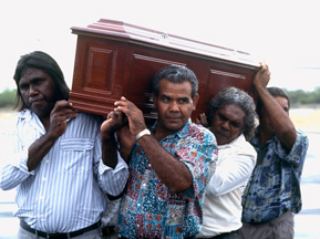 Pallbearers carry Fred Hollows' casket onto a plane that will carry the professor to Bourke for burial. Photo: Oliver Strewe