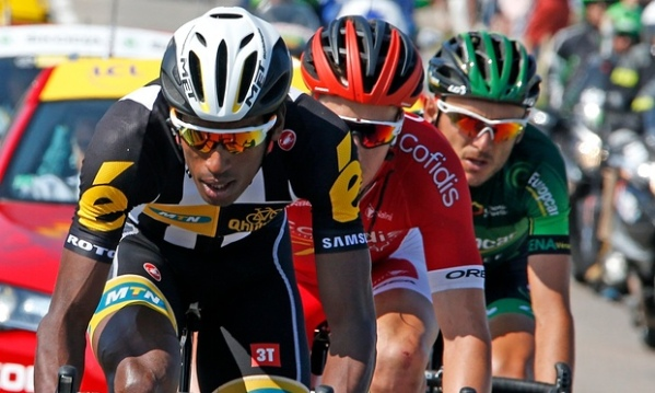 Daniel Teklehaimanot with Europcar rider Perrig Quemeneur and Cofidis's Kenneth Van Bilsen during Wednesday's breakaway. Photograph: Eric Gaillard/Reuters